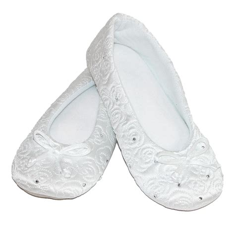 totes slippers womens womens terry lined quilted ballerina slippers by