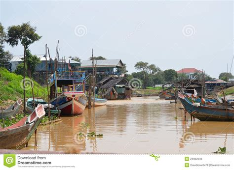 siem reap floating village boat price boats in the floating village of kompong pluk royalty free