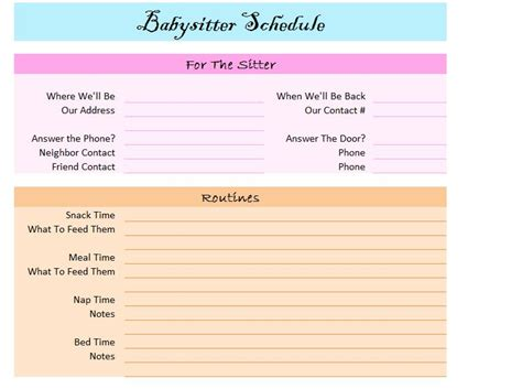 printable daily schedule babysitter 2016 leave planner excel calendar template 2016