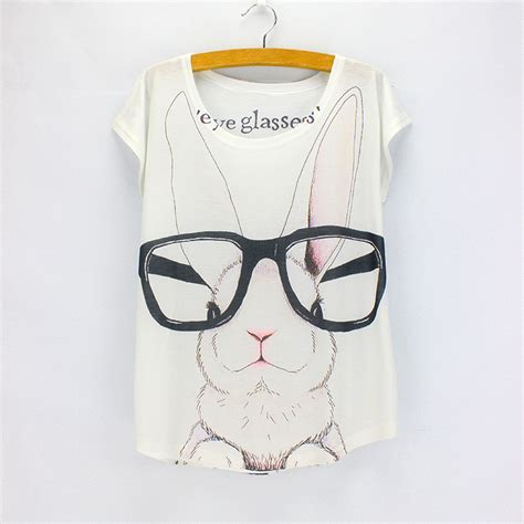 t shirt pattern vogue fashion women t shirts big eyeglasses rabbit pattern girls