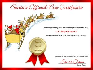 free printable santa letters and certificates free printable santa s official nice certificate