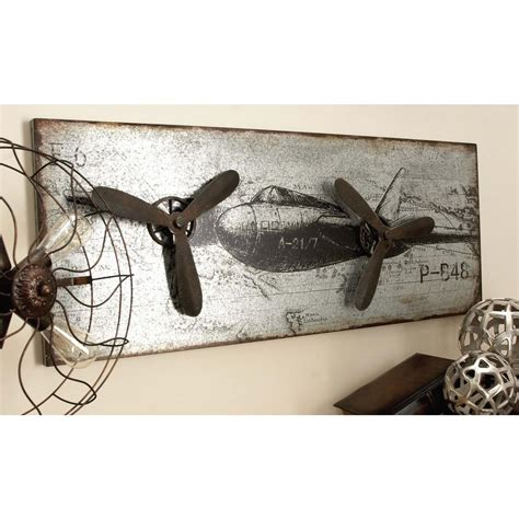 680 best vintage outdoor wall advertising art images 46 in x 18 in vintage airplane wall in rustic finish with 3d accents 55512 the home depot