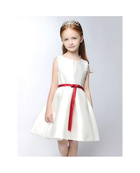 simple satin short white flower girl dress  red sash