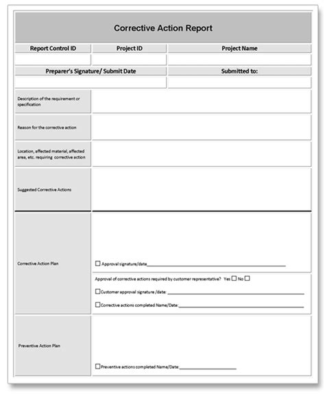 plan of correction template corrective report exle