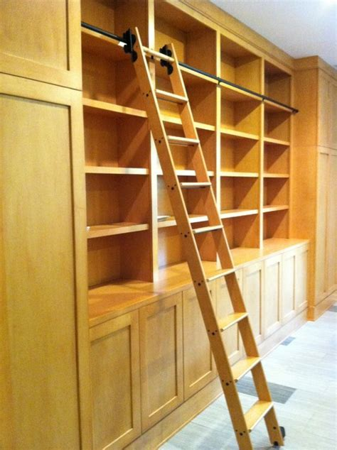 Library Cabinets with Rolling Library Ladder   Modern
