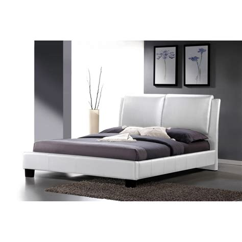modern full size bed sabrina white modern bed with overstuffed headboard full