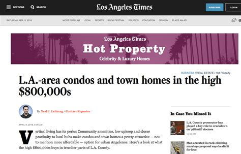 la times business section la times hot property real section features my image in