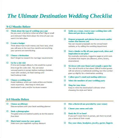 printable beach wedding checklist printable wedding checklist 9 free pdf documents