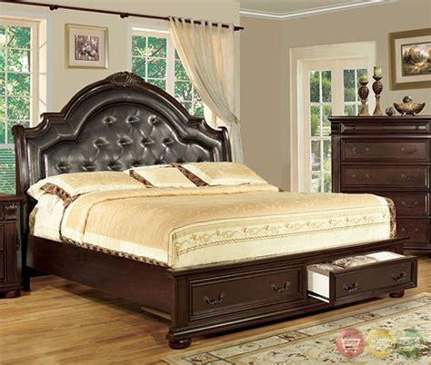 Scottsdale Luxurious English Brown Cherry Platform Storage Bedroom Furniture Scottsdale