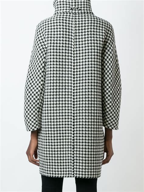 houndstooth pattern in french lyst herno houndstooth pattern coat in black