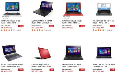Laptop Acer Di Lazada intel spesial promo laptop 2in1 di harbolnas 2015 dari lazada pricebook forum