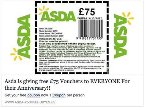 printable vouchers for asda sainsbury s scam warning the fraudulent shopping voucher