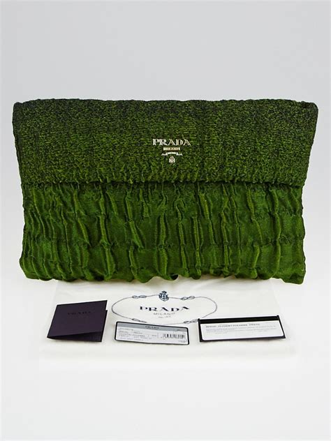 Prada Glace Folder Clutch In The City by Prada Prato Green Cloquet Folders Pochette Clutch Bag