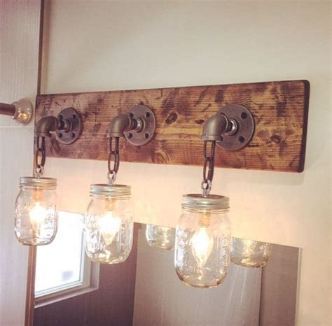 Ceiling Light Industrial Lighting Pipe Farmhouse Jar W Cage Light Industrial Industrial Modern Rustic Wood Handmade 3 Jars Light Fixture Pipe Chain Farm House Home