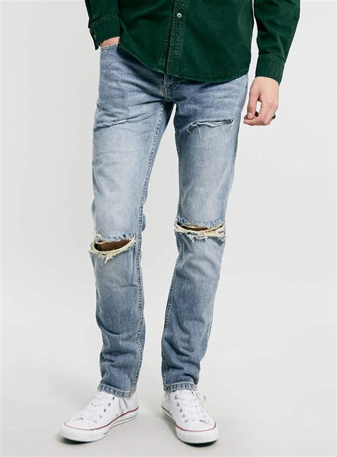 light wash ripped mens topman light wash ripped in blue for lyst