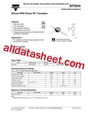 transistor datasheet vishay bfr90a datasheet pdf vishay siliconix