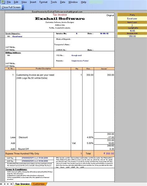 Vat Invoice Format Excel India invoice format india free printable invoice