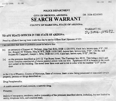 A Search Warrant Search Warrant La Imc