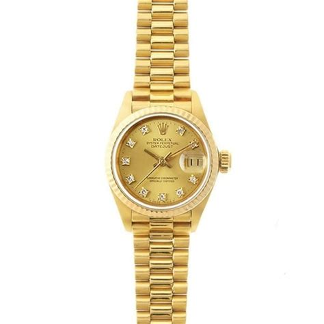 pre owned rolex s datejust president gold chagne