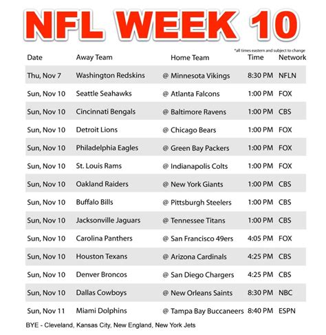 printable nfl schedule for this week nfl schedule 2012 regular season week 11