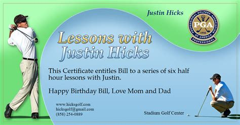Gift Certificate Hicksgolf Golf Gift Certificate Template