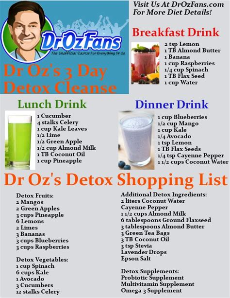 Detox Advice by Dr Oz S 3 Day Detox Cleanse Trusper