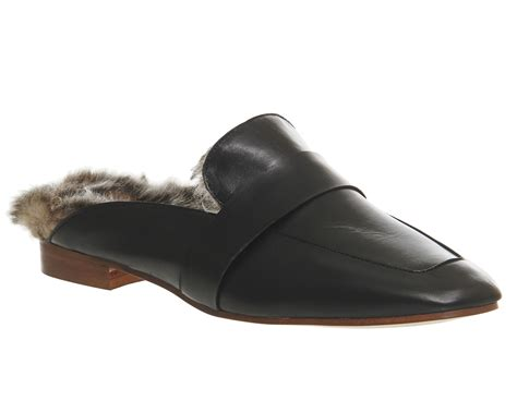 fu loafers womens office dandy fur mule loafers black leather fur
