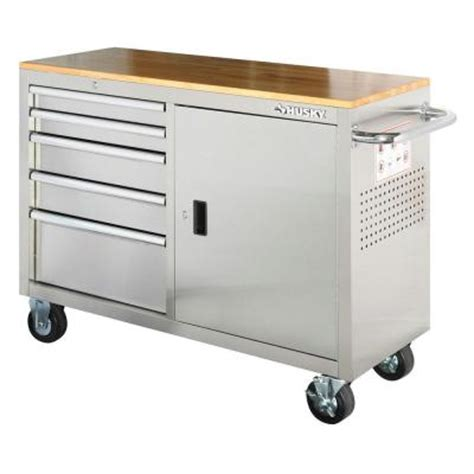 husky 46 inch 9 drawer mobile workbench with solid wood top husky 46 in 5 drawer stainless steel 1 door mobile work