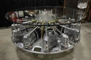 8 cylinder aircraft engine coffee table
