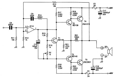 transistor guitar lifier schematic power lifier ocl 100w with mj802 mj4502 electronic projects circuits