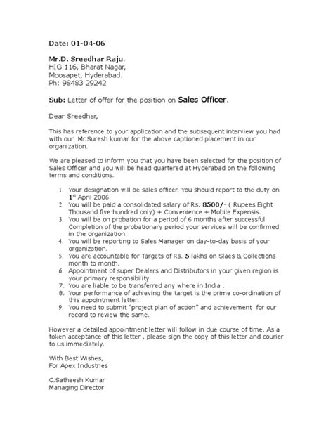appointment letter sle for appointment letter