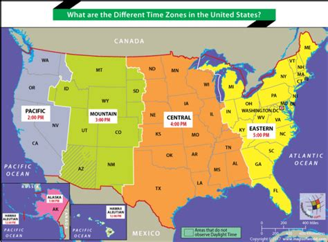 usa time zones maps us map showing different time zones answers