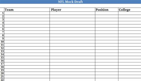 Nfl Spreadsheets by Best Photos Of Printable Spreadsheet Template Printable