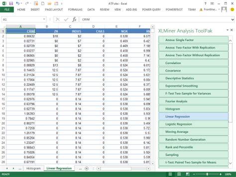 xlminer tutorial frontline systems xlminer analysis toolpak brings popular