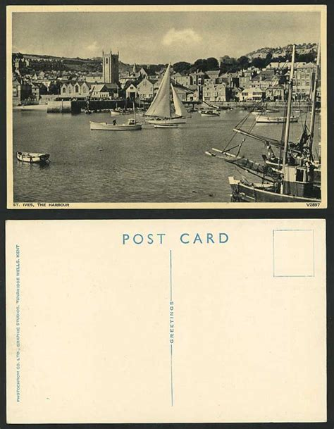 boat auctions cornwall st ives the harbour old postcard church sailing boats