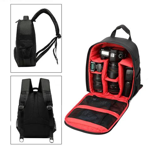 Tali Kamera Honx Leatherette 1 tas kamera slr dslr backpack for d7100 small compact with pocket black