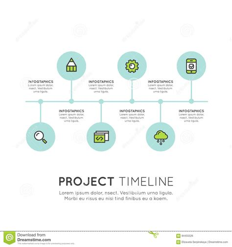 business development workflow flat timeline infographic elements template for workflow