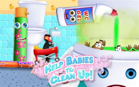 clean up bathroom games baby toilet race cleanup fun