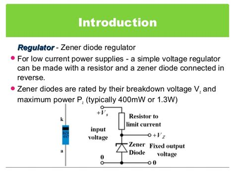 low current diode zener voltage regulator