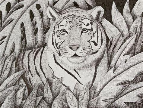 Dining Room Cart tiger in jungle jk art life drawings amp illustration