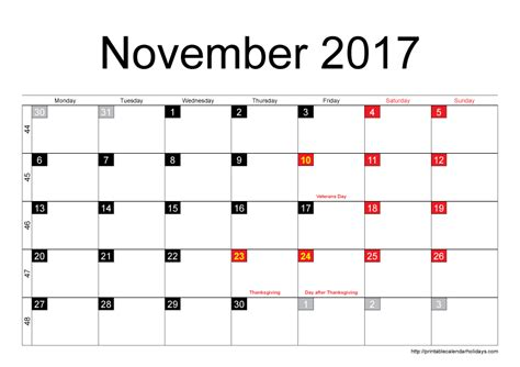 Calendars That Work November 2017 November 2017 Calendar Thanksgiving Printable Templates