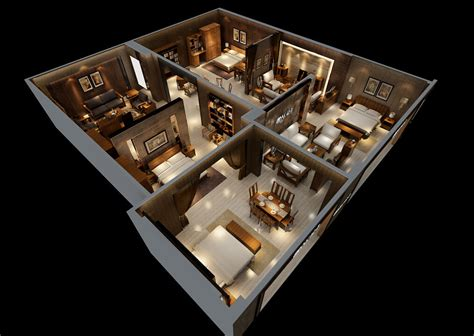 house interior 3d model house interior design model overlooking