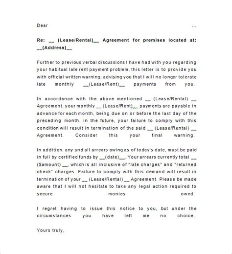 Rent Warning Letter written warning template south africa late rent notice 15 free sles exles format