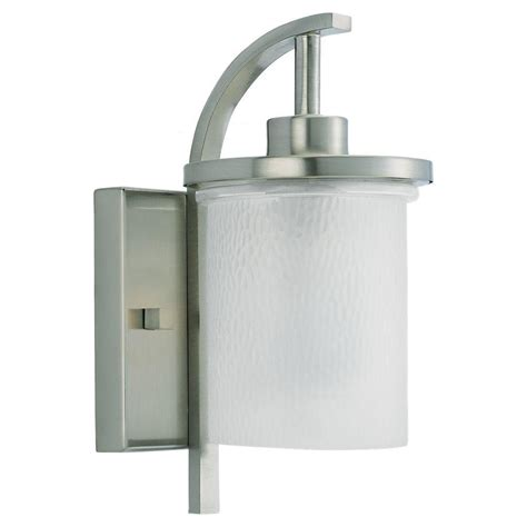 Brushed Nickel Outdoor Light Fixtures Sea Gull Lighting Eternity 1 Light Brushed Nickel Outdoor Wall Fixture 88116 962 The Home Depot