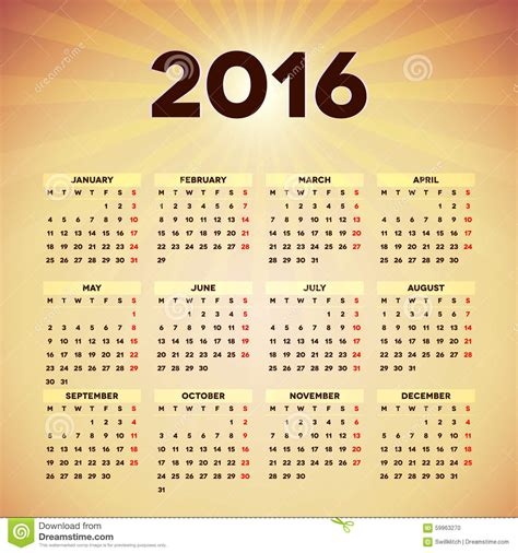 home design editorial calendar 2016 calendar 2016 template design stock vector image 59963270
