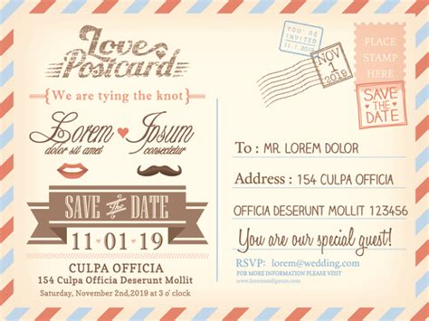 Einladung Postkarten Hochzeit by Wedding Invitations Postcard Design Graphic Vector 03
