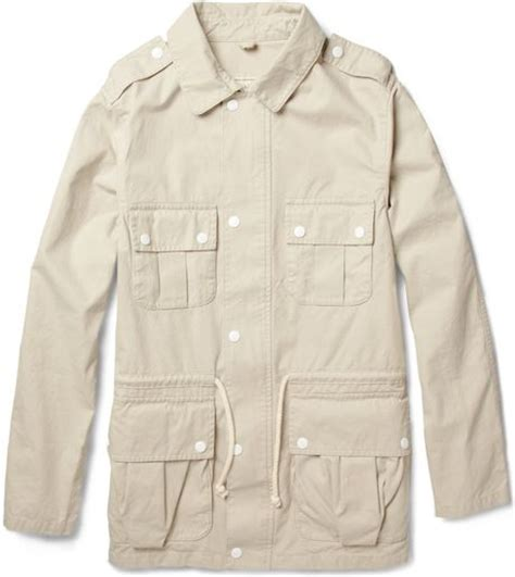 Safari Jacket White maison kitsun 233 washed cotton twill safari jacket in white for lyst