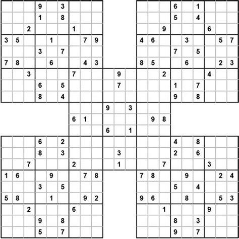 printable samurai sudoku x samurai sudoku