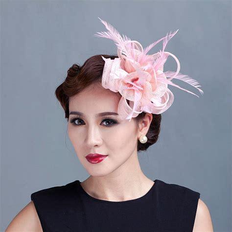 Fashion Aksesoris Hairclip Poni Clip 2 Model teal loop sinamay hair fascinators with feathers hair clip fascinator headband for races