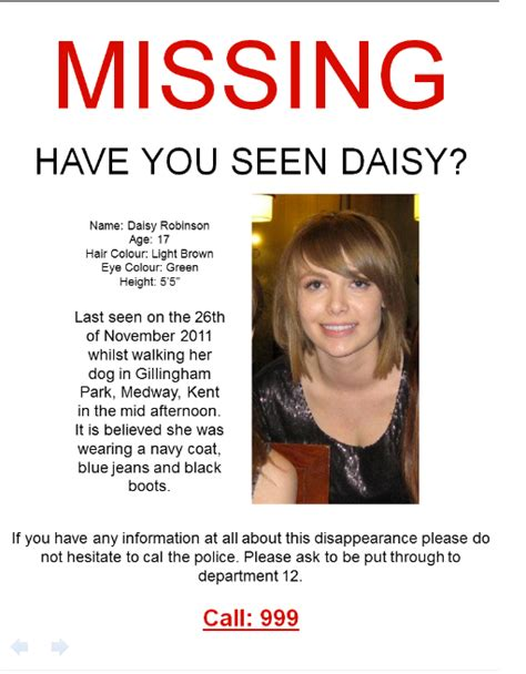 my media profile missing persons poster